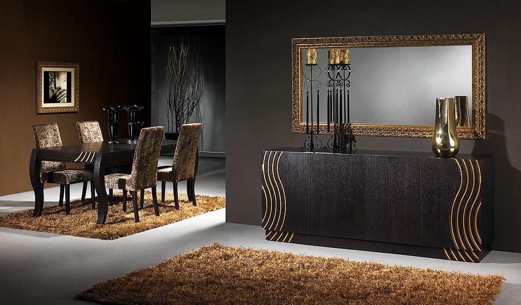 decoracao sala wengue:salas jantar em carvalho wengue com motivos a dourado aparador de sala