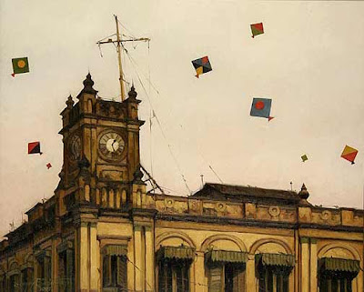 oil painting kites by Sanjay Bhattacharya
