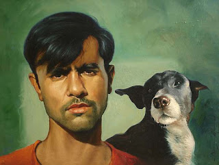 ravi bhaiya with dog- a painting by Amit Kumar