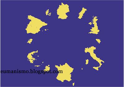 Eumanismo Bandera de la Unin Europea con los mapas de la Europa