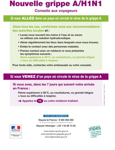 Nouvelle grippe A (H1N1) Conseils aux voyageurs