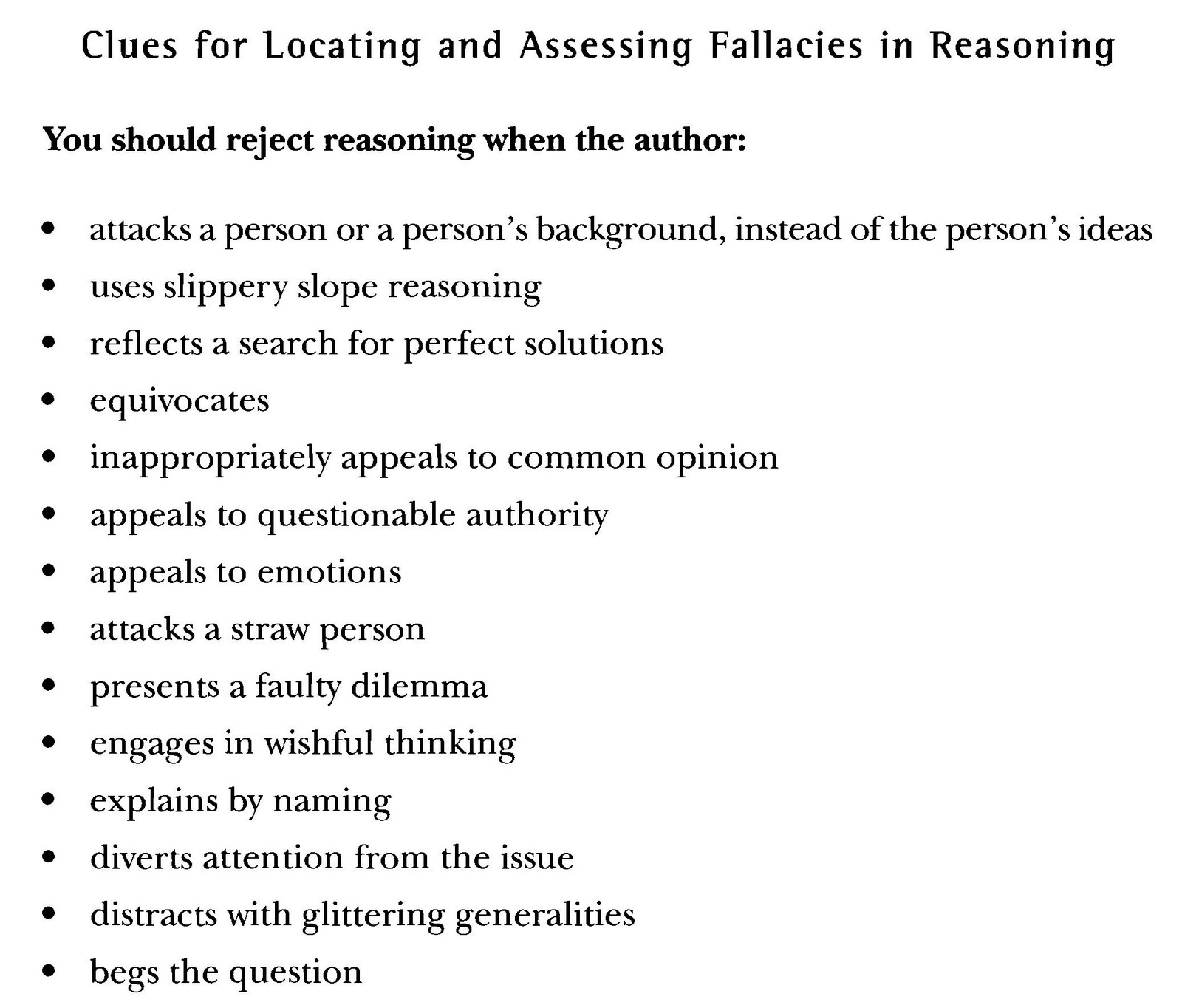 Critical Reading Are There Any Fallacies In The Reasoning In They  Expanding Your Knowledge Of Fallacies