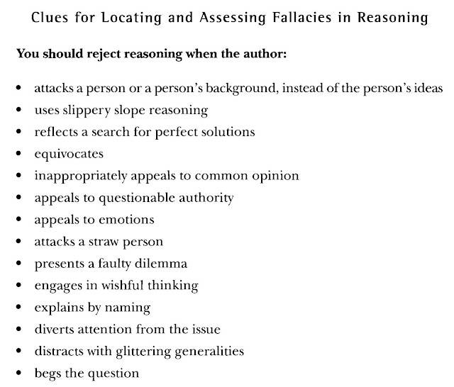 argument critical thinking logic and the fallacies answers Critical thinking, chapter 8 – special inferences and fallacies dona warren 1 exercises, questions, and activities my answers exercises identify the fallacies in.