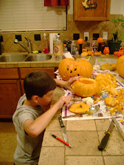 This was the first year that Logan was allowed to actually hold and carve with a knife...