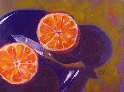Connie Kleinjans painting: Orange Halves