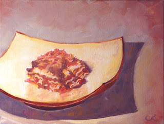 Connie Kleinjans: Original oil painting, Square Food, Square Plate, 6x8