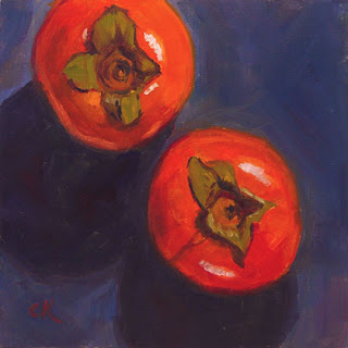 Connie Kleinjans, original oil painting, Two Tiny Persimmons