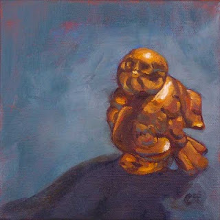 Connie Kleinjans, Chirp!, 6x6 oil on canvas