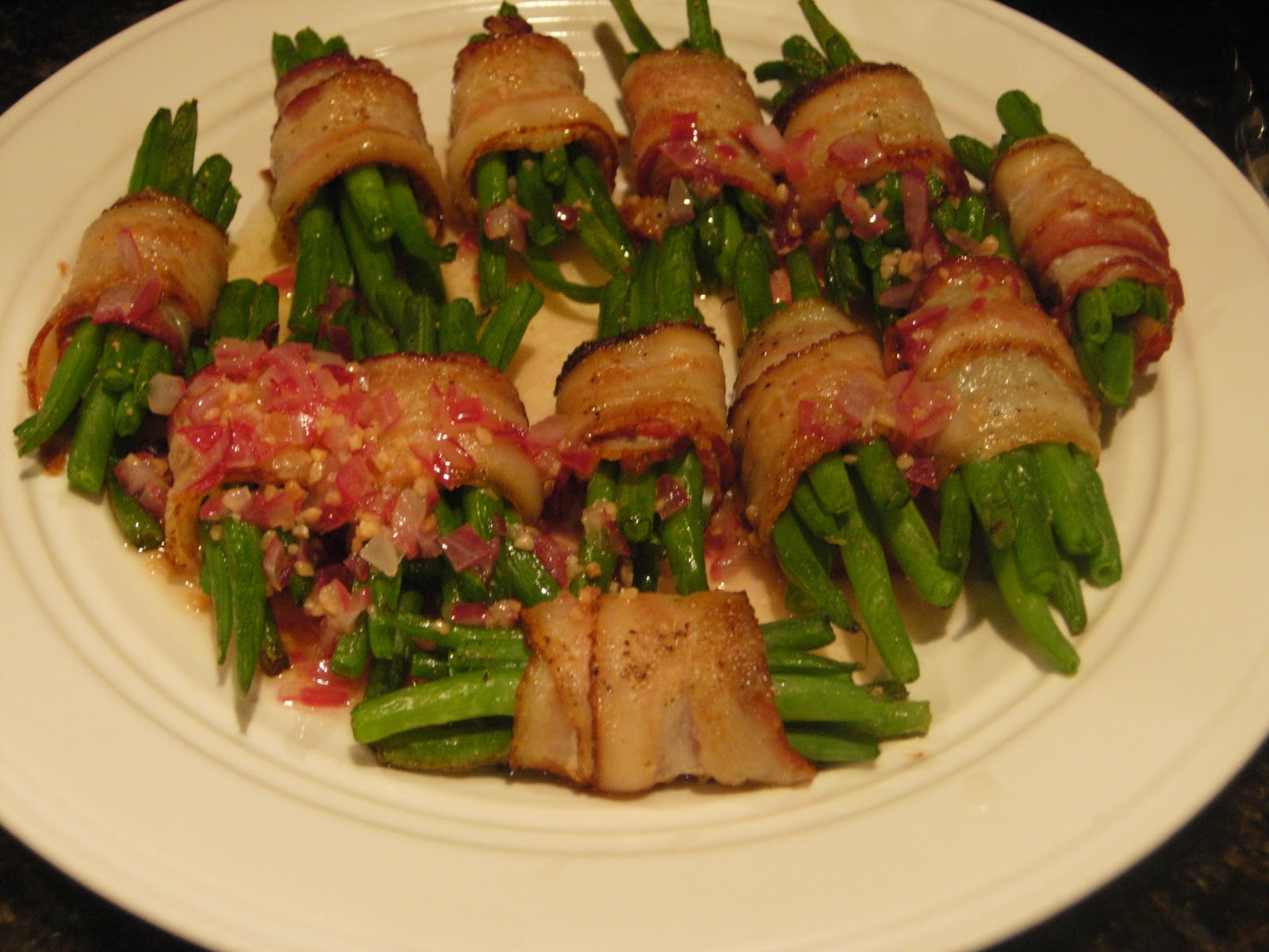 Bacon Wrapped Green Bean Bundles and Roasted Cauliflower with Pine ...