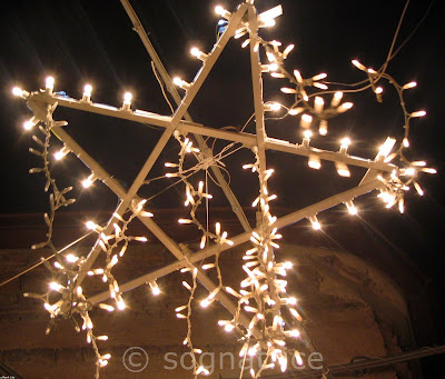 Christmas star in lights, Calabria, Italy
