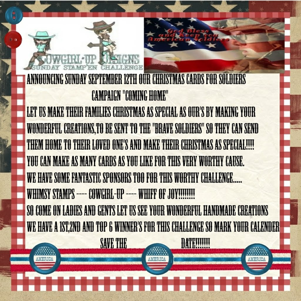 christmas cards for soldiers its time time for the newest challenge over at cowgirl up designs