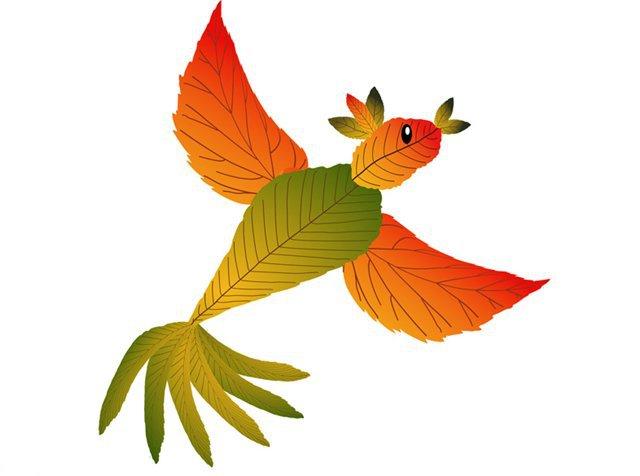 Поделка из листьев птицу 375