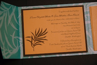 Blue Orange Wedding Invitations Card Design