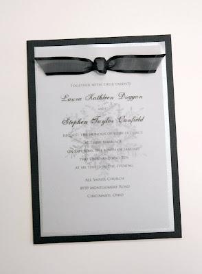 White Wedding Invitations With Black Ribbon Border