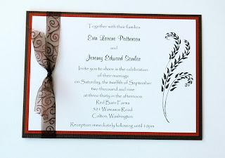 Black Orange Wedding Invitations With Transparent Ribbon