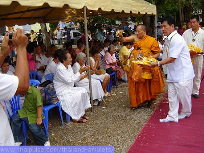 Ajahn Jumnien of Wat Tum Sua, Krabi, Thailand in Thai Buddhist amulet blessing ceremony