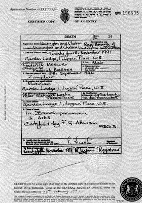 Freddy Mercury's Death Certificate