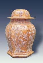 Lidded jar, brown-yellow glaze