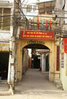 The street have many villages gate of Hanoi