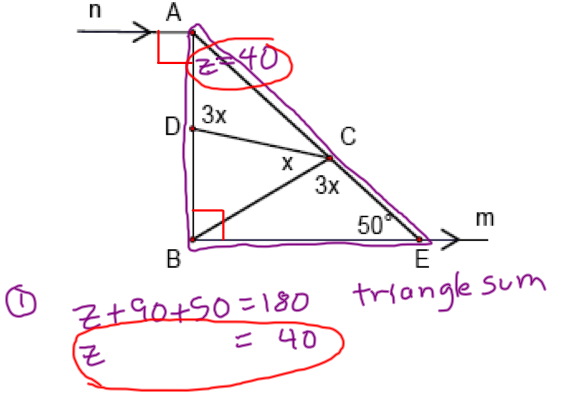 Next, We Use The Exterior Angles Theorem, Which States That In A Triangle,  An Exterior Angle Measures The Sum Of The Measures Of Its Remote Interior  Angles.