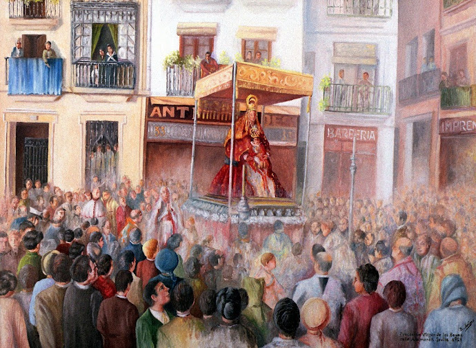 LA SEVILLA DE AYER. Virgen de los Reyes por calle Alemanes a principios del S. XX