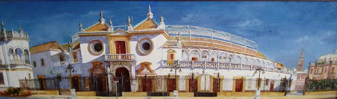Sevilla. Oleo panorámico de la  Maestranza de Sevilla. Realizado en  2010