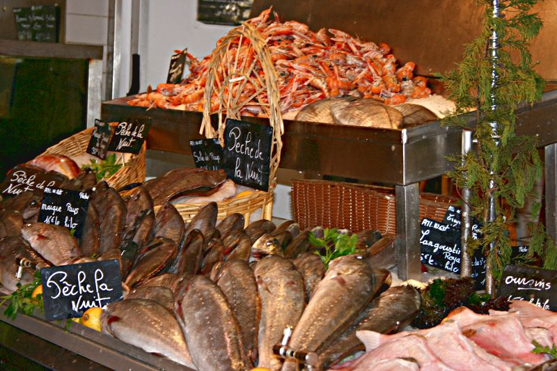 Fresh fish stall in a French market