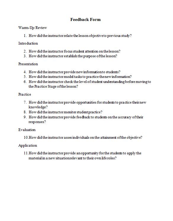 program evaluation forms