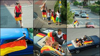 Impressionen von Fussballfans nach dem Sieg der deutschen Fussballmannschaft über Argentinien