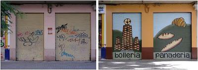 decoracion exterior de tienda con un mural