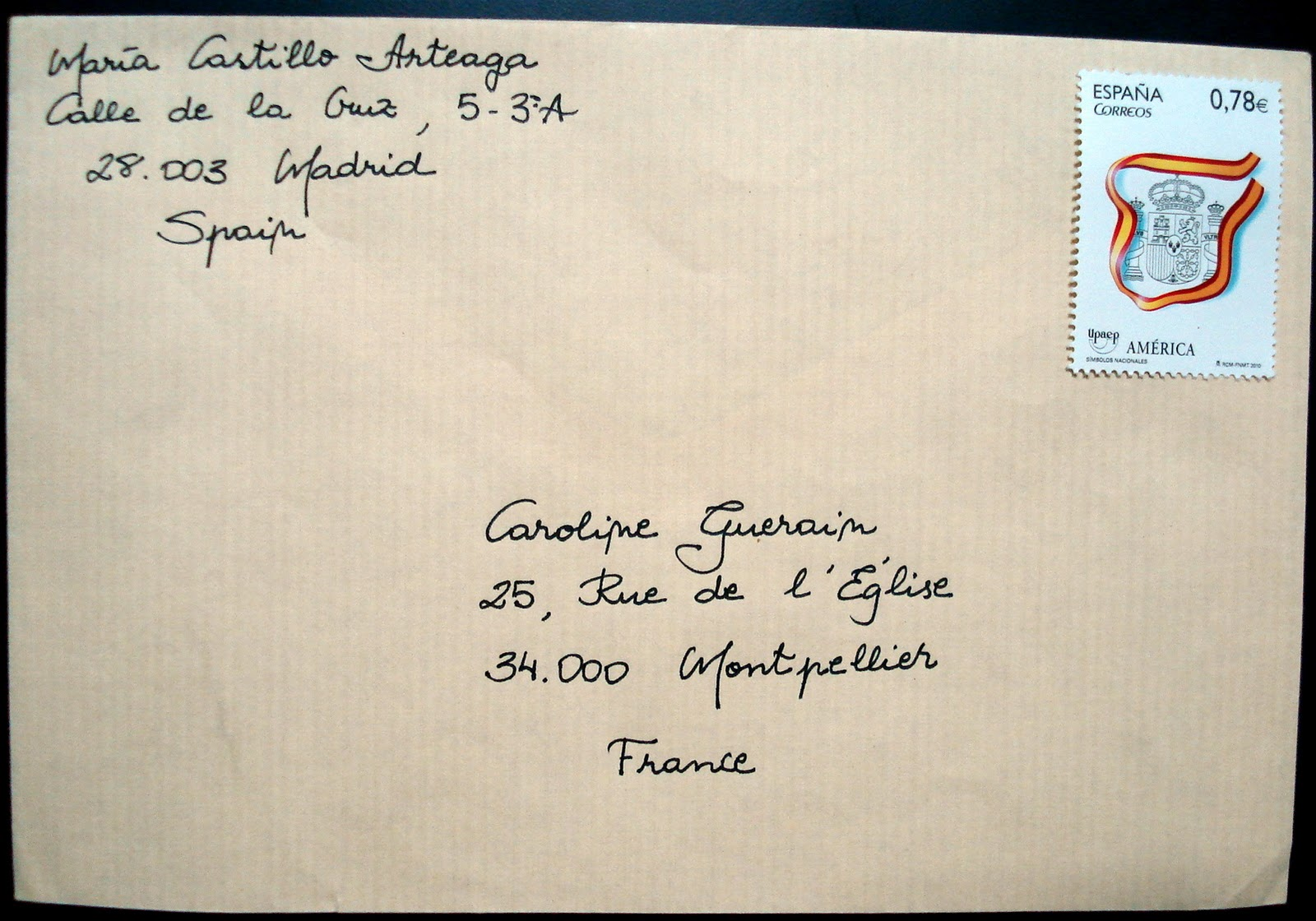 Envelope writing address
