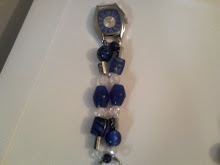 Glass Bead- chunky Blue, Clear & Silver