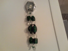 Glass Bead- Chunky Green & Clear