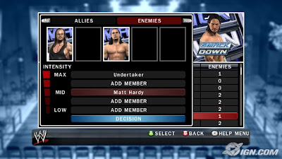wwe 2k18 how to set enemies and allies in exhibitiob