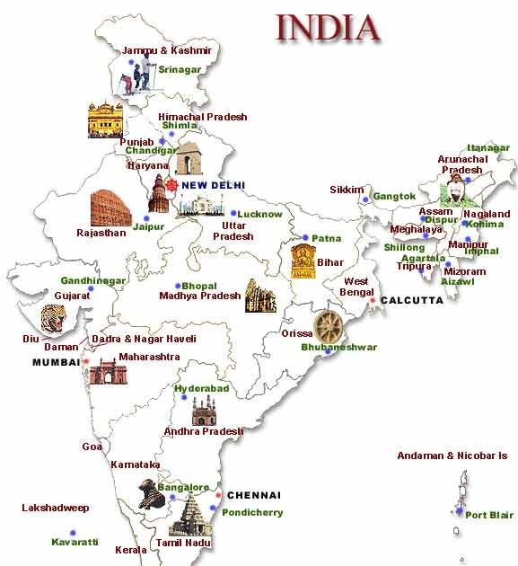 ... Place Of India: Map of India along with States and their Capital