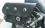 Black leather saddlebag