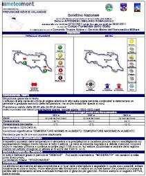 ULTIMO AGGIORNAMENTO BOLLETTINO METEOMONT EMILIA-ROMAGNA