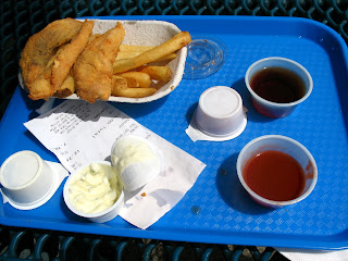 Order of Salmon and chips from Ivars