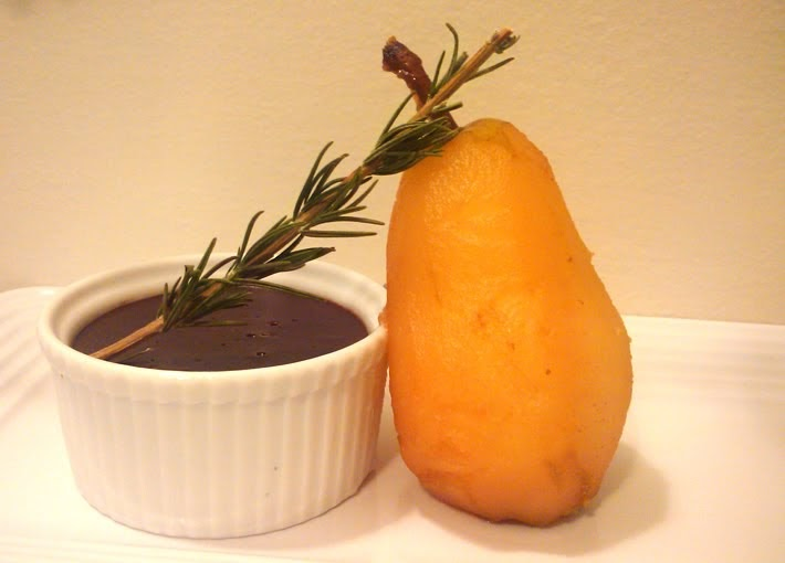 ... Hatred of Meat: Rosemary Chocolate Pot De Creme, Vanilla Poached Pear