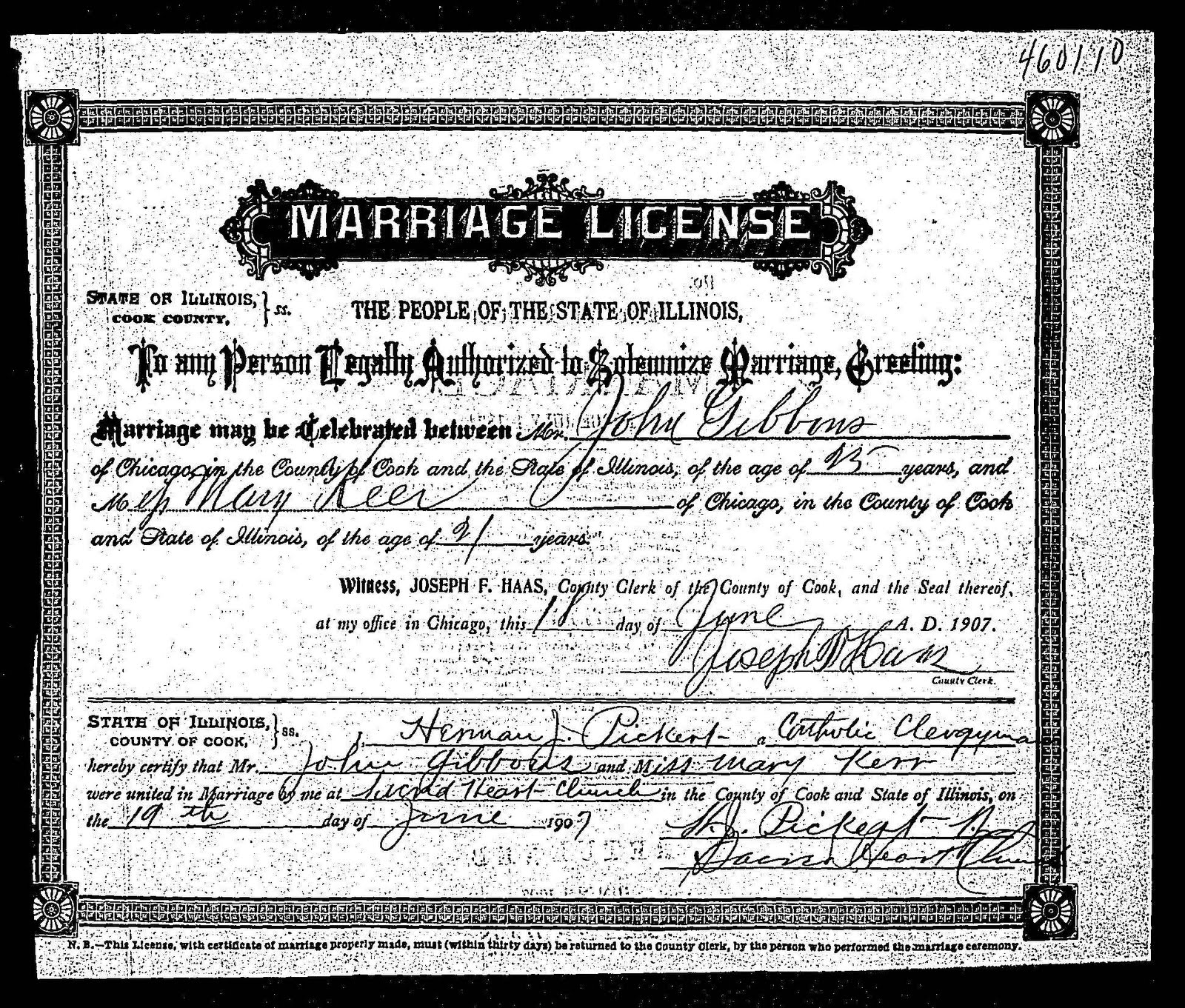 kerr marriage certificate county cook mae gibbons illinois john
