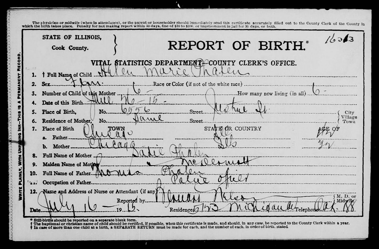 The mcdermott family line june 2010 the cook county birth certificate for helen marie phelan 1betcityfo Choice Image
