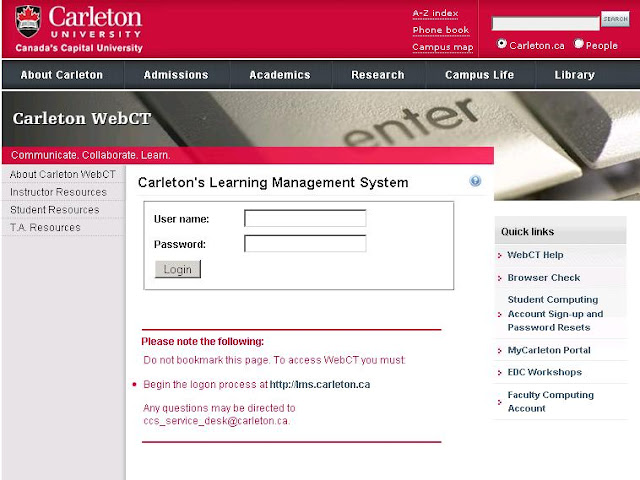 How to Login at Carleton's Learning Management System of WebCT Carleton University