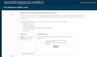 GW Admissions Activity Center Website Login Info