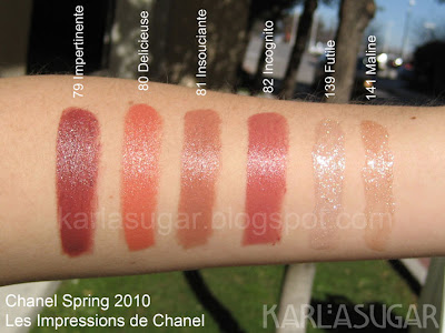 Les Impressions de Chanel, Chanel, spring 2010, swatches, Impertinente, Delicieuse, Insouciante, Incognito, Futile, Maline