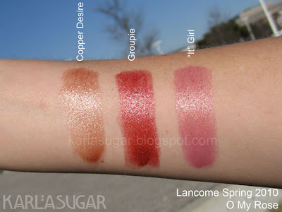 Lancome, spring 2010, O My Rose, swatches, Copper Desire, Groupie, 