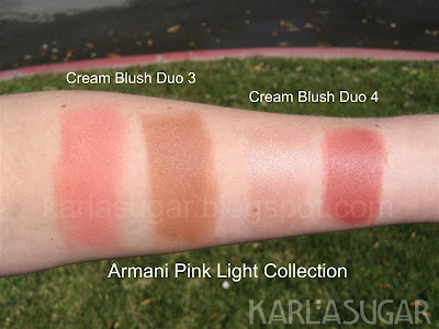 Armani, cream blush duo, 3, 4, swatches, spring 2009, Pink Light