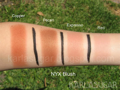 Copper, Pecan, Expresso, Espresso, Red, NYX, blush, swatches