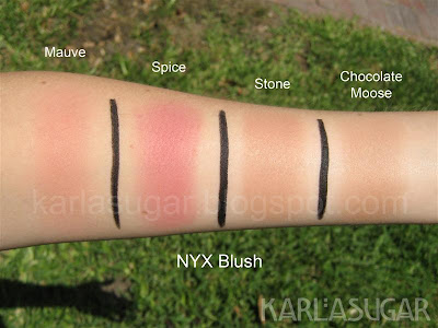 Mauve, Spice, Stone, Chocolate Moose, Chocolate Mousse, NYX, blush, swatches