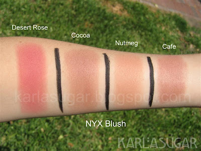 Desert Rose, Cocoa, Nutmeg, Cafe, NYX, blush, swatches