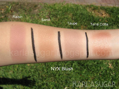 NYX, blush, swatches, Raisin, Sand, Taupe Terra Cotta, Terracotta